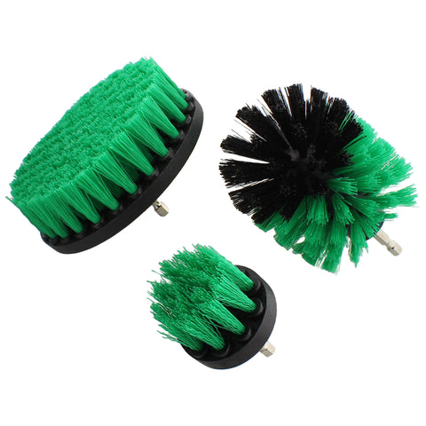 3 Green Medium Scrubber Drill Attachment Brush for 1/4in Power Drill