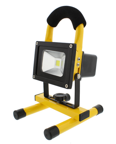 LED Flood Light 10W Rechargeable, Portable Work Light, 12V Adapter & Wall Plug