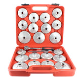 "23 Piece Oil Filter Cap and 1/2"" Inch Socket Wrench Removal Tool Set"
