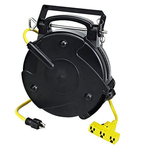 8140T-P Heavy Duty Industrial Retractable Extension Cord Reel w/Tri-Tap