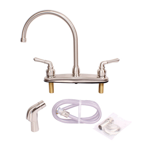 RV Brushed Nickel Gooseneck Faucet Replacement and Sprayer Head