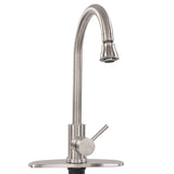 Brushed Nickel RV Gooseneck Kitchen Faucet with Attached Sprayer Spout