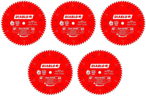 5 PCK D1060X Diablo 10-In 60 Tooth ATB Fine Finish Saw Blade