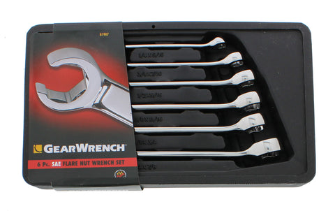 6 Piece SAE Flare Nut Wrench Set