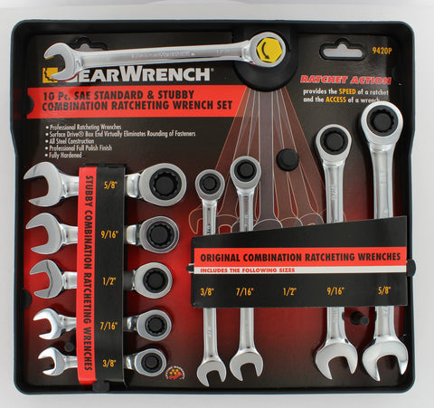 SAE Stubby Ratcheting Wrench Set