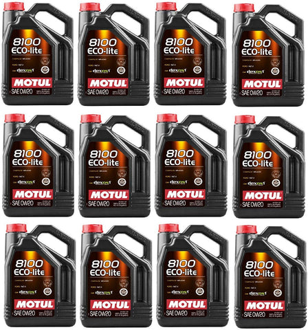108536 Set of 12 8100 ECO-lite 0W-20 Motor Oil 5-Liter Bottles