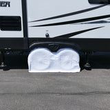 "White RV Trailer Dual Axle Wheel Cover Wheel Protector up to 27"" Inch"