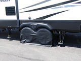 "Black RV Trailer Dual Axle Wheel Cover Wheel Protector up to 27"" Inch"