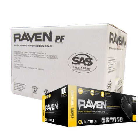 Raven Powder-Free Black Nitrile 6 Mil Gloves