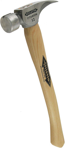 Ti12SC-16 Ti 12-Ounce Smooth Hammer w/ a Curved 16-Inch Hickory Handle