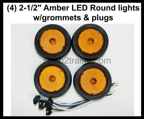 "(4) of LED 2.5"" Round Amber Clearance/side Marker Light Kit with Light Grommet"