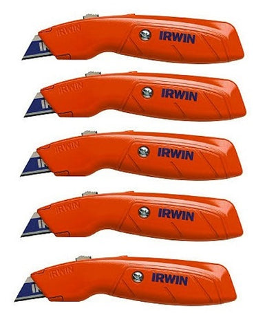 (5 PACK) Irwin (VG 2082300) Hi-Vis Retractable Blade Utility Knife - Autobodynow.com