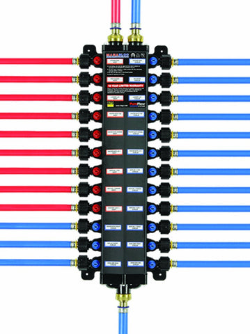 49142 3/8-inch PEX Press Polymer Manabloc With 14 Ports, 8 Cold, 6 Hot