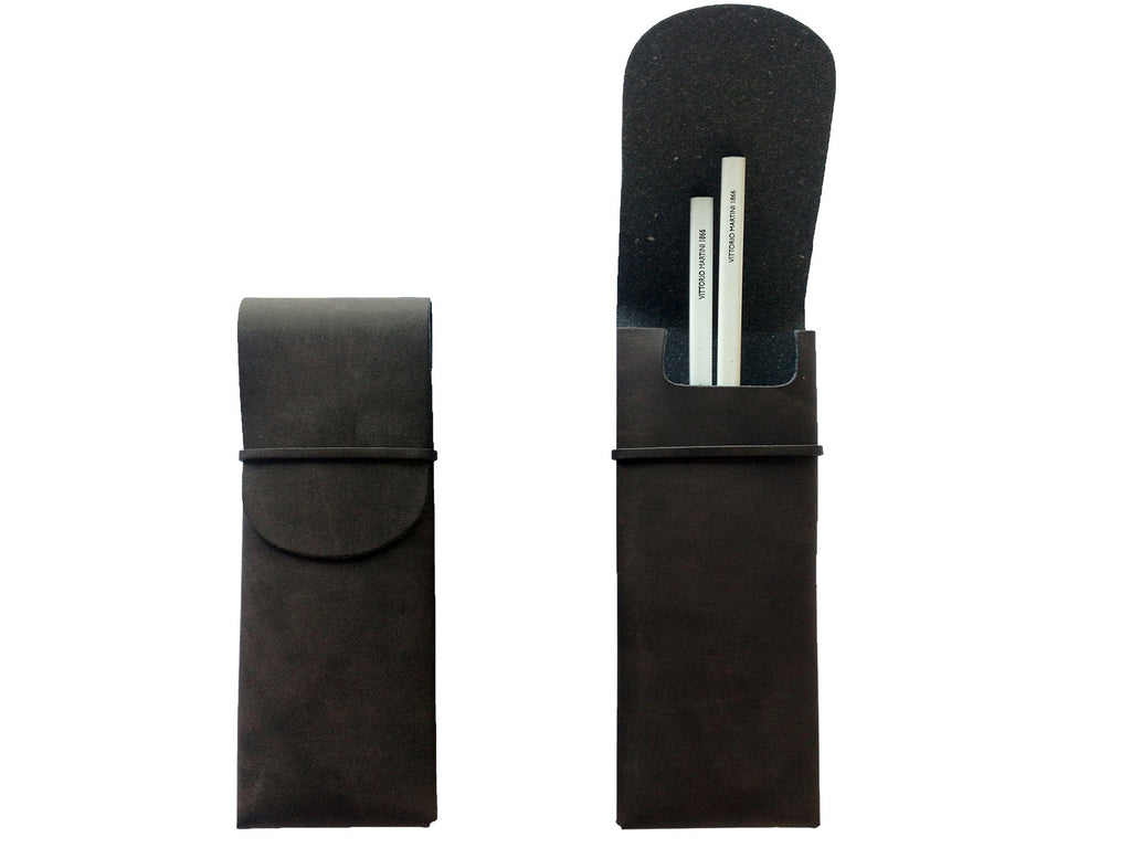Pen case in nubuck leather, brown buffalo - VITTORIO MARTINI 1866