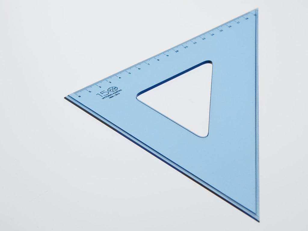 Perspex Square 37-45°, graduated side 24cm, light blue