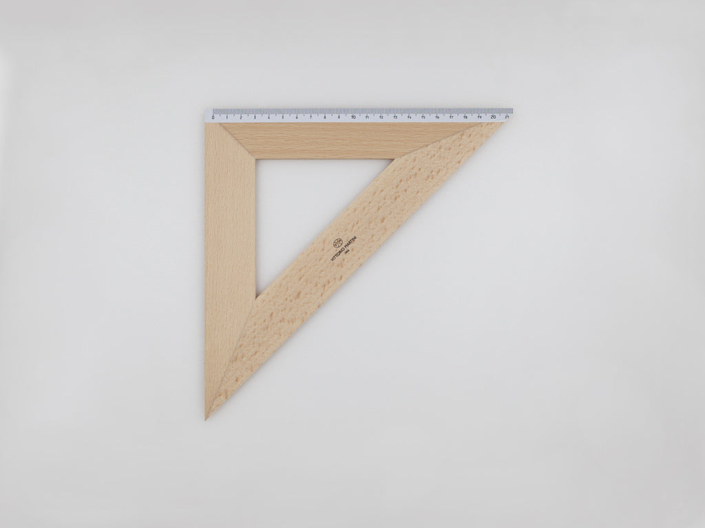 Wooden Square 30-45°, graduated side 22 cm - VITTORIO MARTINI 1866