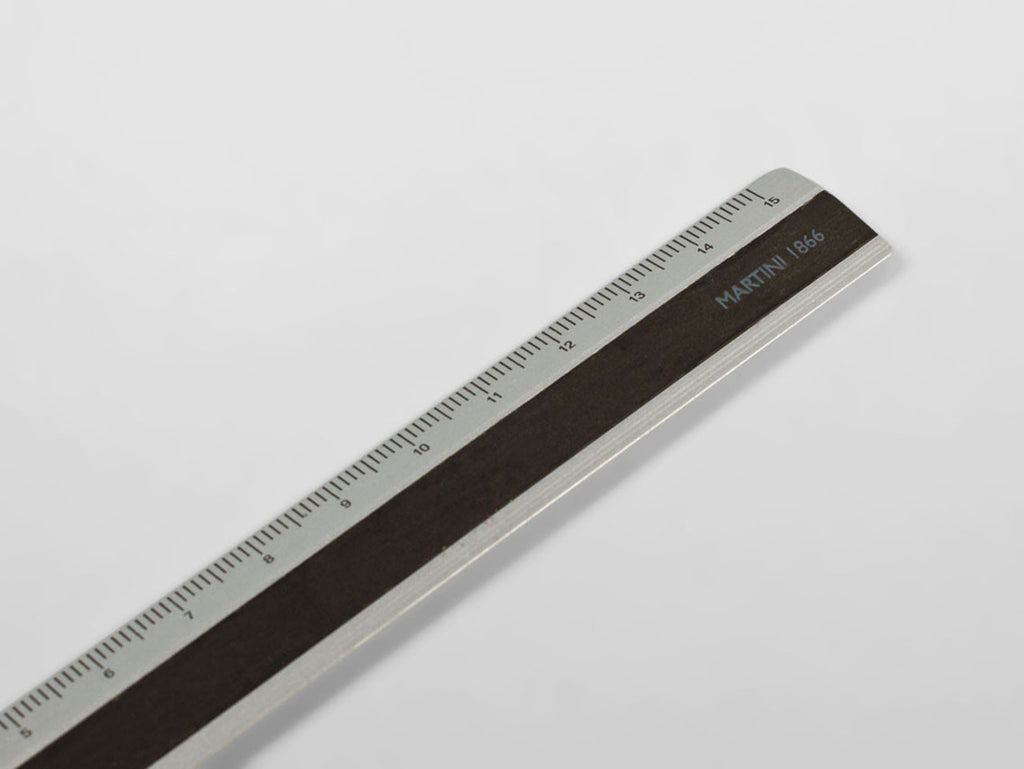 Aluminium / wooden ruler, 15 cm, black colour - VITTORIO MARTINI 1866