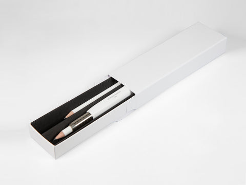 Wooden triangular pencil extender, white + pencil - VITTORIO MARTINI 1866