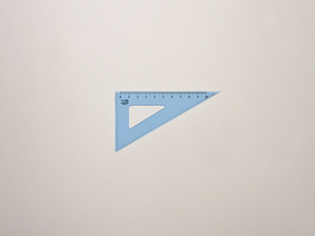 Perspex Square 12-60°, graduated side 10 cm, light blue - VITTORIO MARTINI 1866