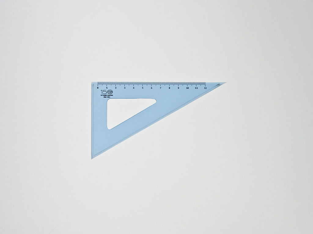 Perspex Squares 15-60°, graduated side 12 cm, light blue - VITTORIO MARTINI 1866