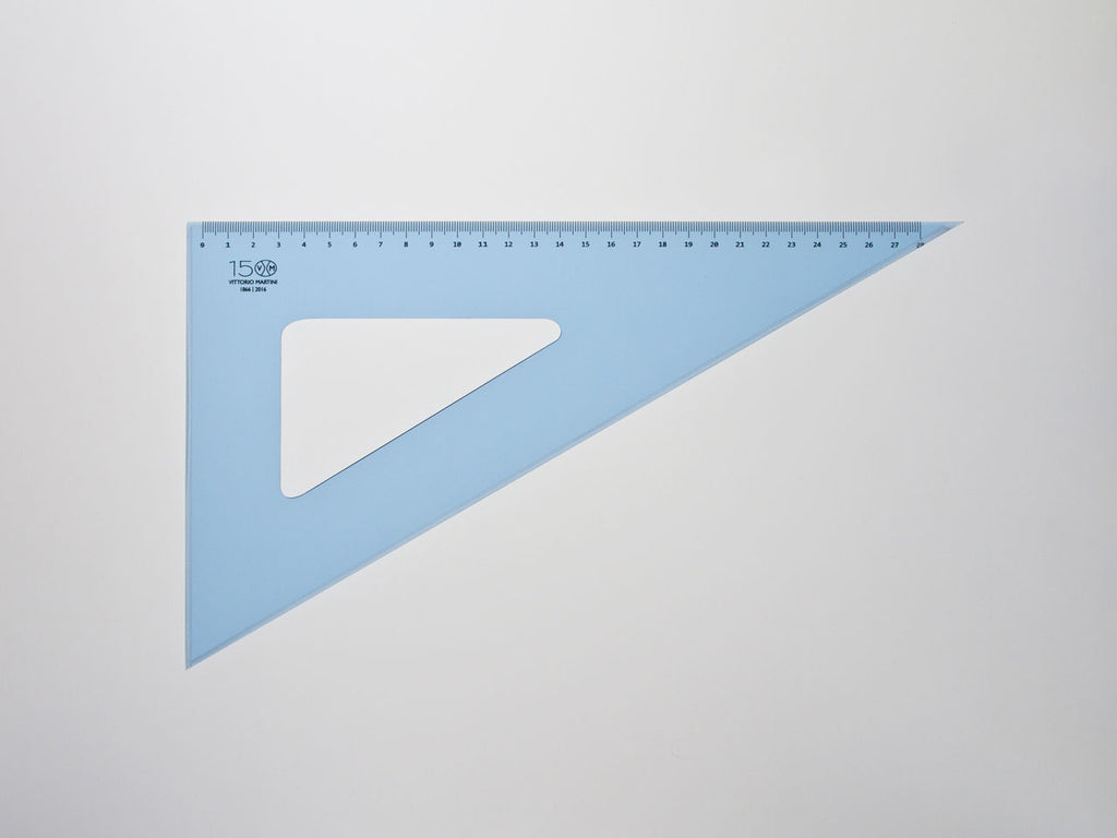Perspex Squares 30-60°, graduated side 28 cm, light blue - VITTORIO MARTINI 1866