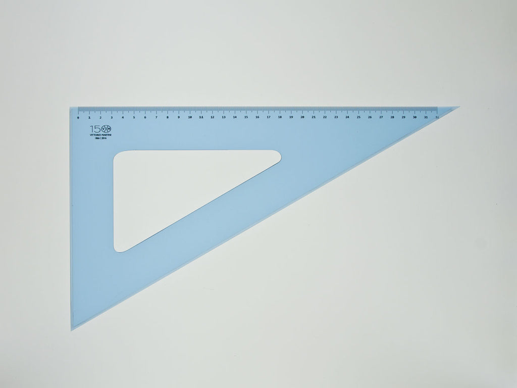Perspex Square 35-60°, graduated side 32cm, light blue - VITTORIO MARTINI 1866