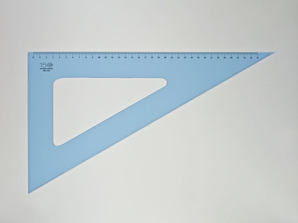 Perspex Square 37-60°, graduated side 34 cm, light blue - VITTORIO MARTINI 1866