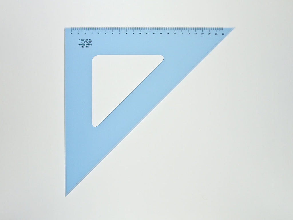 Perspex Squares 35-45°, graduated side 22cm, light blue - VITTORIO MARTINI 1866