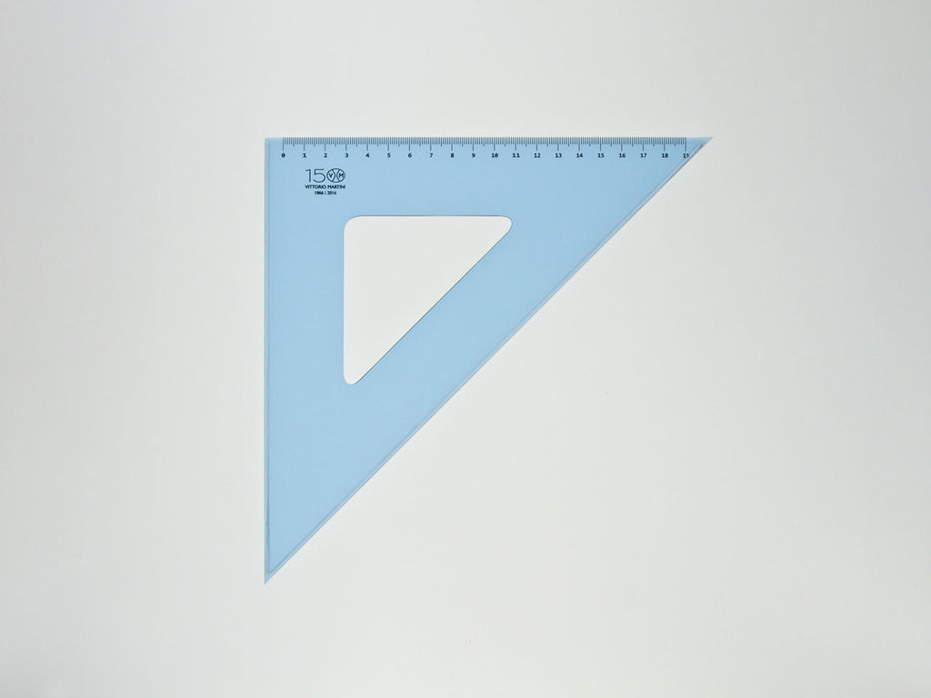Perspex Squares 30-45°, gratuated side 19 cm, light blue - VITTORIO MARTINI 1866