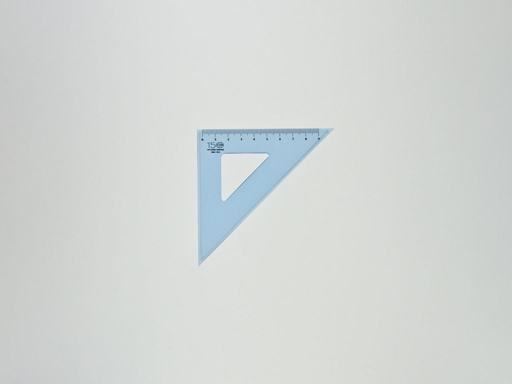 Perspex Squares 15-45°, graduated side 9 cm, light blue - VITTORIO MARTINI 1866