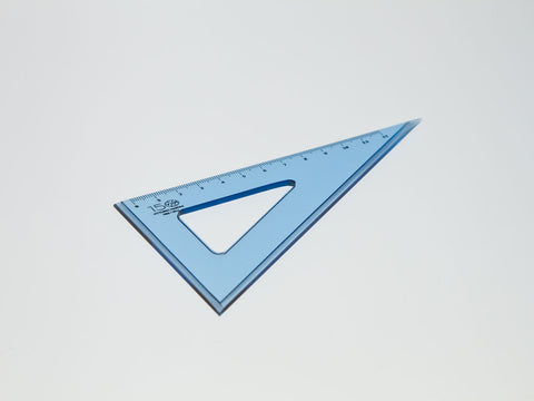 Perspex Square 15-60°, graduated side 12 cm, light blue - VITTORIO MARTINI 1866