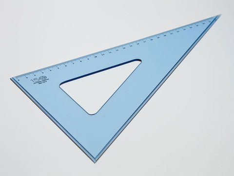 Perspex Square 30-60°, graduated side 28 cm, light blue - VITTORIO MARTINI 1866