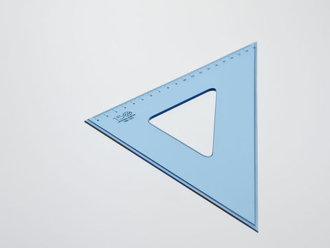 Perspex Square 30-45°, gratuated side 19 cm, light blue - VITTORIO MARTINI 1866