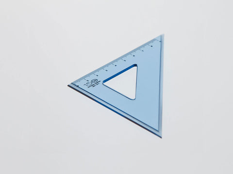 Perspex Square 15-45°, graduated side 9 cm, light blue - VITTORIO MARTINI 1866