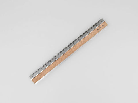 Aluminium / wooden ruler, 15 cm, natural colour - VITTORIO MARTINI 1866