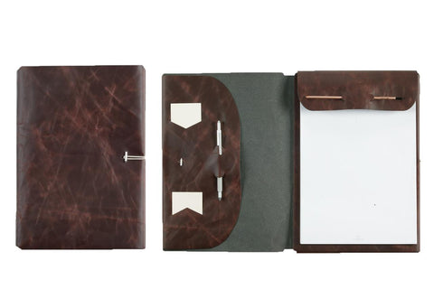 A4 notepad folder in nubuck leather, brown buffalo - VITTORIO MARTINI 1866