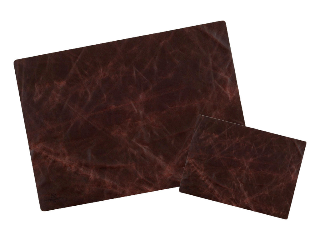 Desk pad + mouse pad in nubuck leather, brown buffalo - VITTORIO MARTINI 1866