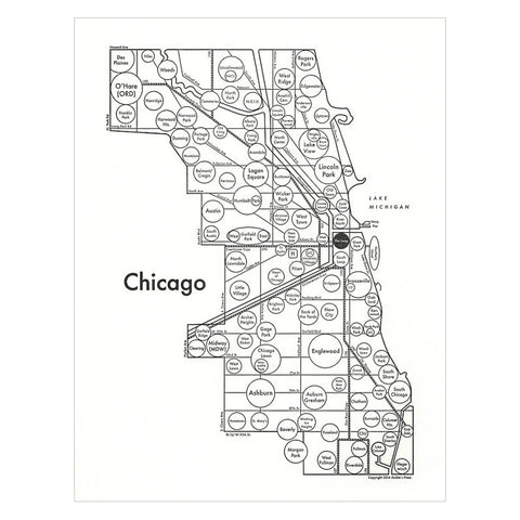 Chicago Small Map Print