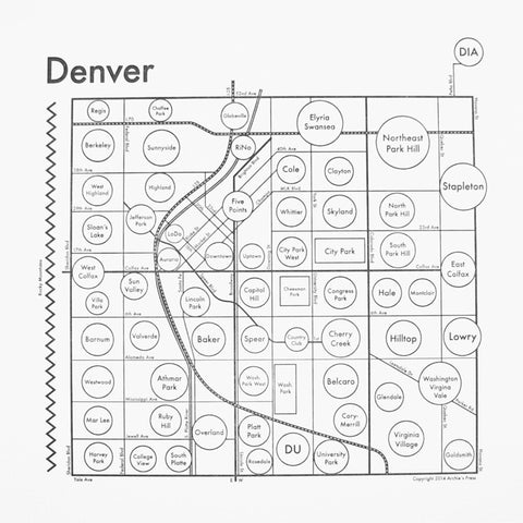 CLEARANCE - Archie's Press Denver Small Map Print