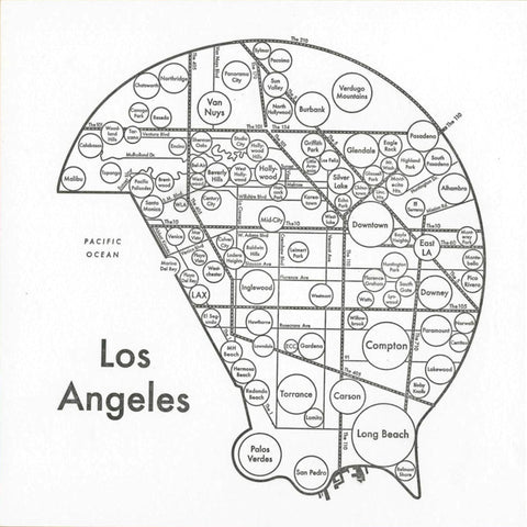 Los Angeles Small Map Print