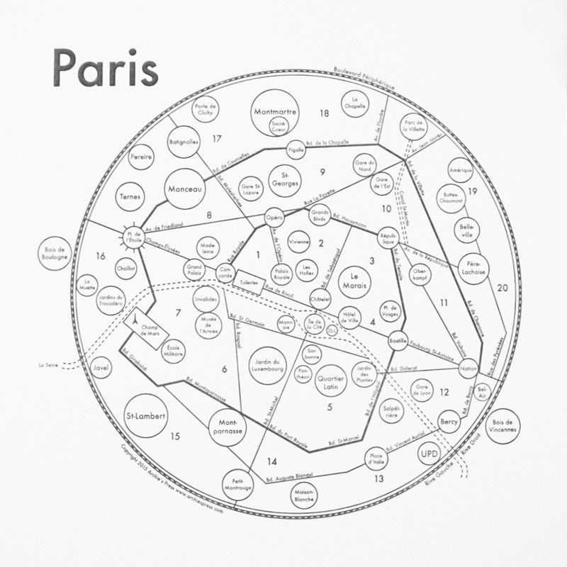 Paris Small Map Print
