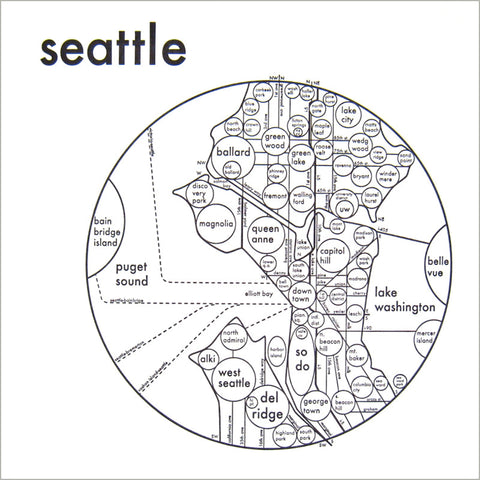 Seattle Small Map Print