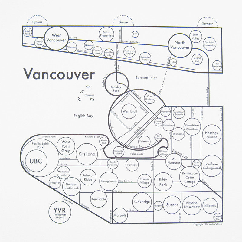 Vancouver Small Map Print