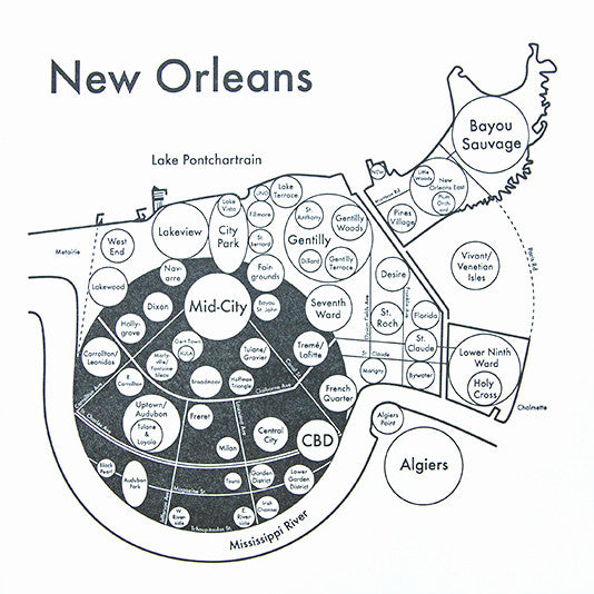 New Orleans Small Map Print