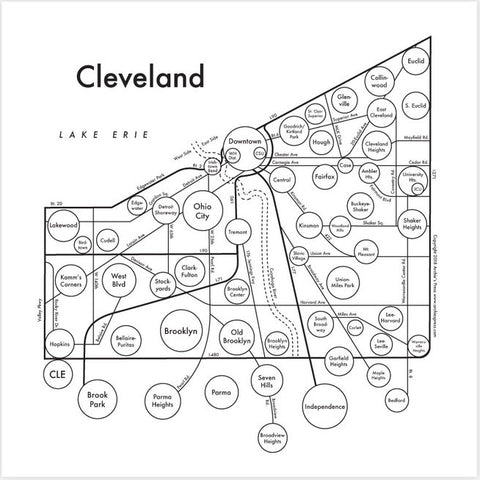 Cleveland Small Map Print