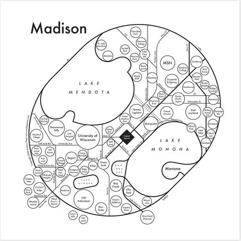 CLEARANCE - Archie's Press Madison Small Map Print