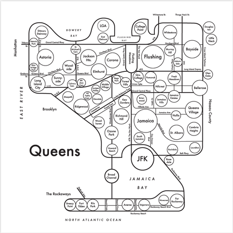 Queens Small Map Print