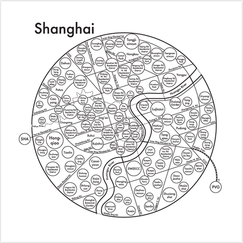 Shanghai Small Map Print