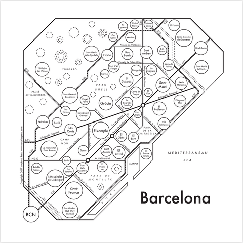 Barcelona Small Map Print