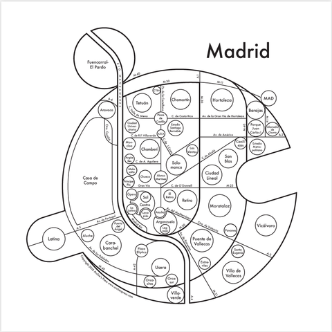 Madrid Small Map Print